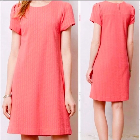 7649e50a5241 Anthropologie Dresses | Maeve Coral Shift Dress Small | Poshmark
